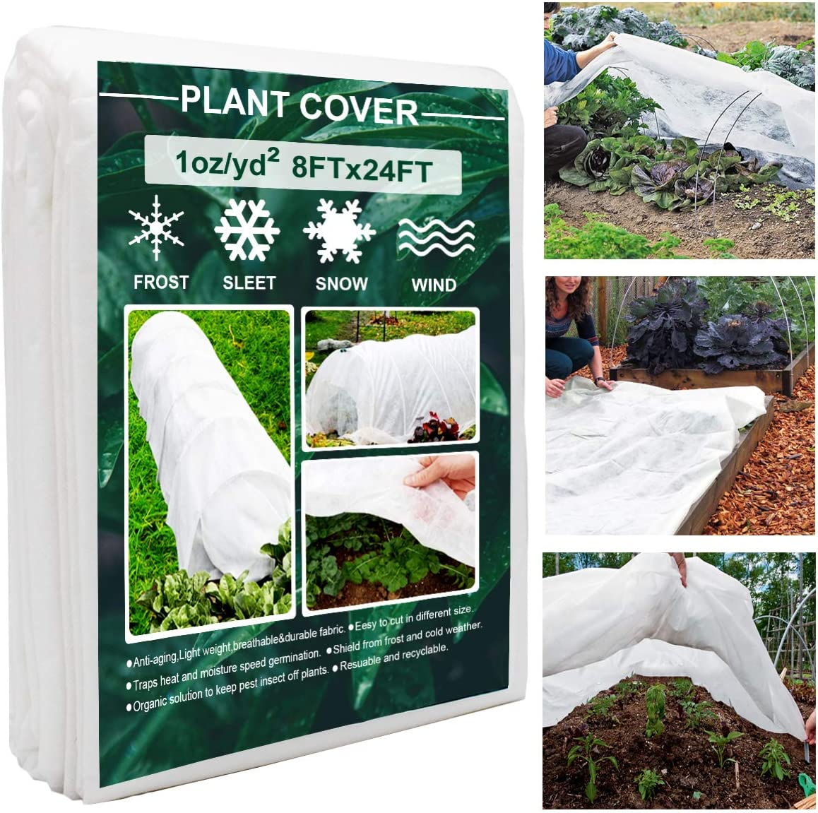 Plant Covers, 8Ft x 24Ft Reusable Floating Row Cover, 1oz Freeze Protection Plant Blankets for Cold Weather, Garden Winterize Cover for Winter Frost Protection, Thickened 1 oz Garden Quilt Cover