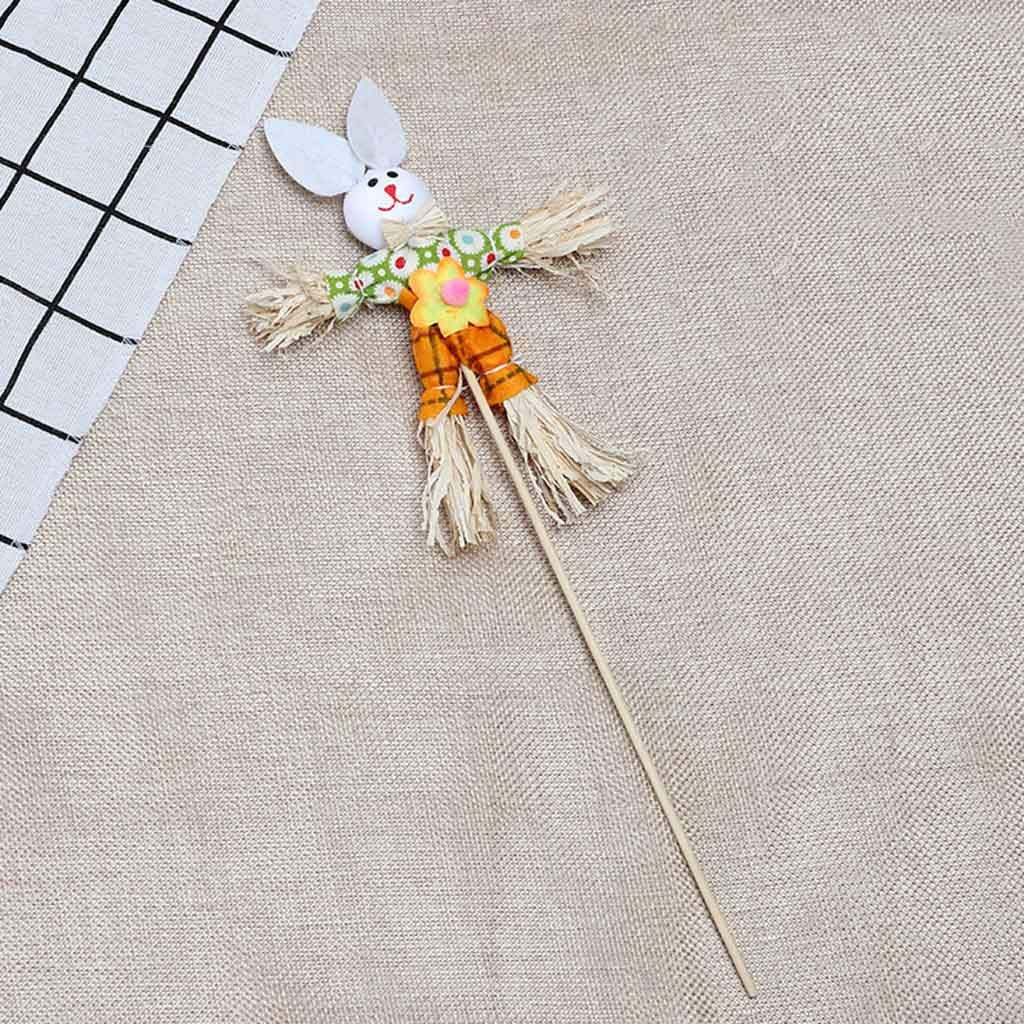 AMOFINY Home Decor Easter Bunny Theme Handheld Scarecrow Non Woven Fabric Straw Materials Toy Props
