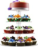DYCacrlic Acrylic 4 Tiers Round Stacked Party Cupcake Stand, Cake Display Holder ( Cupcake Tree ) - Tiered Cupcake Tower (4-Tier-Round)