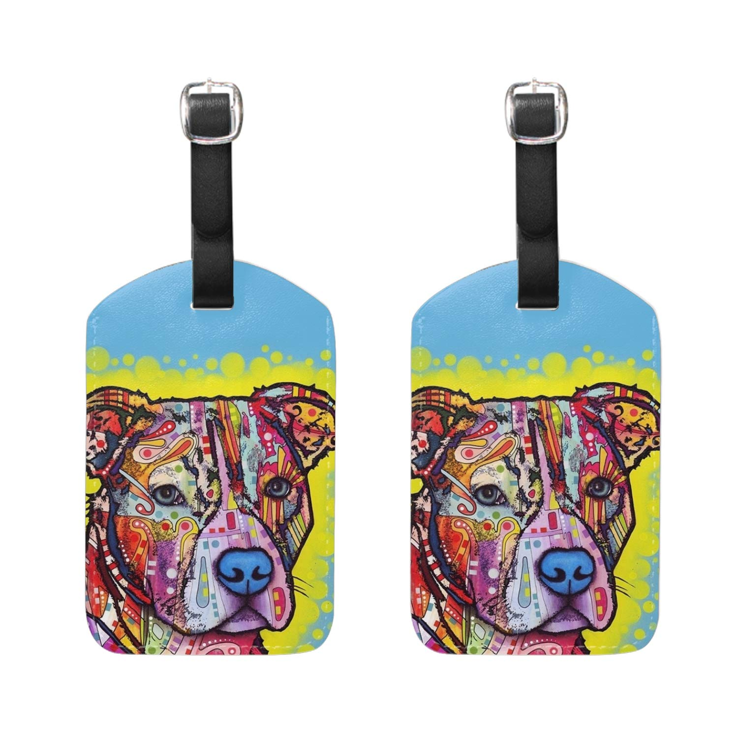 Luggage Tag Rainbow Tiger PU Leather Suitcase Labels Travel Accessories