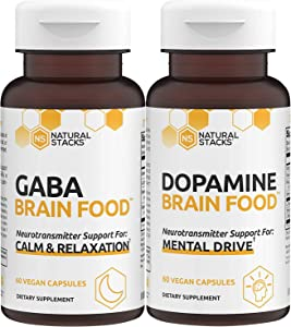 Natural Stacks Supplements - Brain Food Bundle - GABA (60ct) and Dopamine (60ct) - Better Sleep and Relaxation, Improved Mood