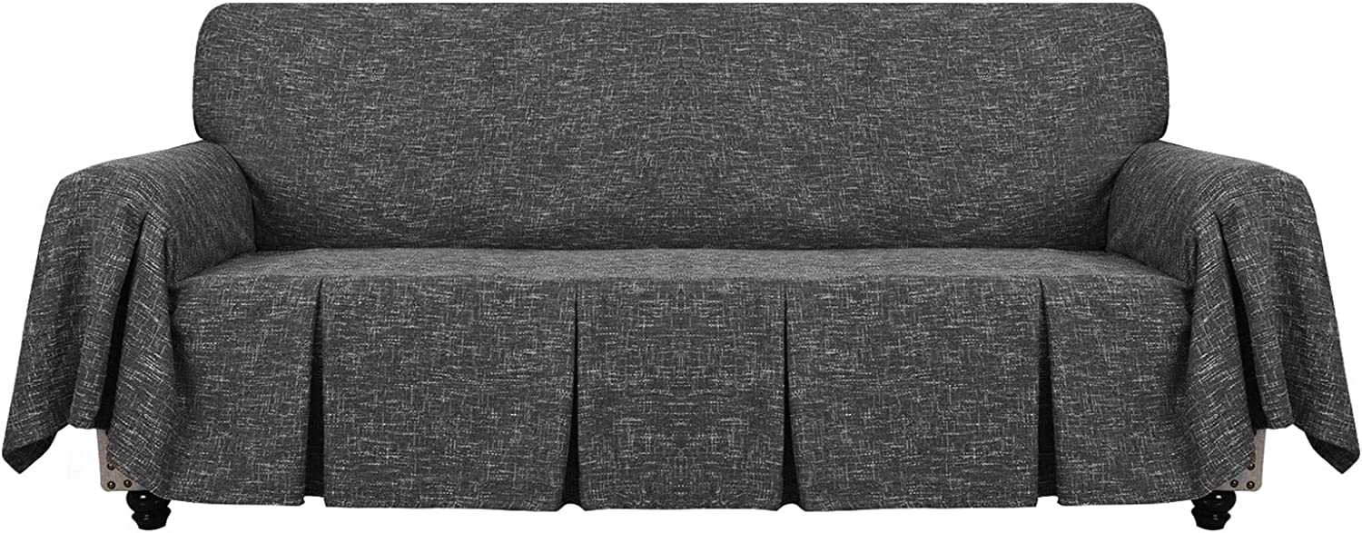 YEMYHOM Linen Sofa Cover Universal Couch Covers for 3 Cushion Couch Premium Pet Dog Sofa Slipcover Living Room Furniture Protector Magic Slip Cover with Ruffles (Sofa, Charcoal Gray)