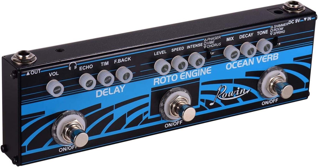 Muslady Rowin 3-en-1 Guitarra Multi Efectos Pedal Delay + Roto Engine + Ocean Verb Carcasa de Aleación de Aluminio con Verdadera Función de Derivación