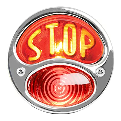 "KNS Accessories KA0030 6V Stainless Steel Duolamp Tail Light for Ford Model A with Amber""STOP"" Script on Red Glass Lens and License Light: Automotive"