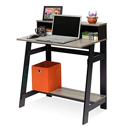 Amazon.com: Homework Desk with Hutch Storage Shelf Compact ...