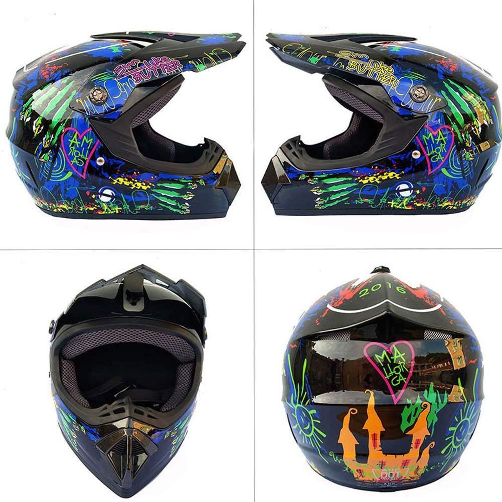 WXGY Herren Offroad-Motocross-Helm mit aufgedrucktem Muster Cross-Country-Motorrad-Integralhelm Rennradhelm-Set mit Brillenmaske und Handschuhen f/ür Unisex-Erwachsene