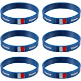 BESTOYARD 6pcs Bracelets France Bracelet de Pays Bracelet Silicone Coupe du Monde Football FIFA 2018 Bleu