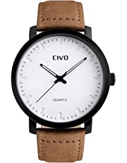 CIVO Mens Watches Leather Waterproof Watch Luxury Business Casual Simple Design Wrist Watches Brown