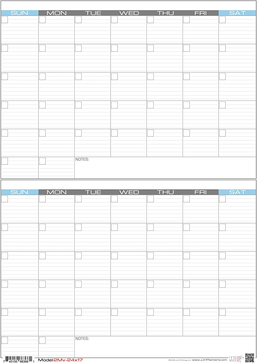 "JJH Planners - Laminated Blank - 24"" x 17"" - Medium - Erasable 2 Month Vertical Wall Planner (2Mv-24x17)"