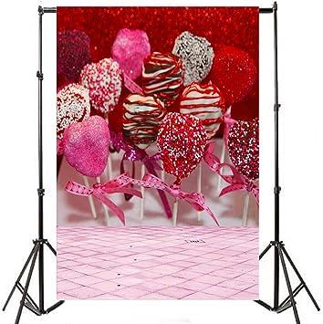 aofoto 5 x 7ft fotografía telón de fondo fotográfico fondos Romance dulce glaseado Lollipop Blurry rejilla suelo Kid bebé niño Niña vertical vinilo papel pintado artístico cumpleaños escena Props para Video Studio: