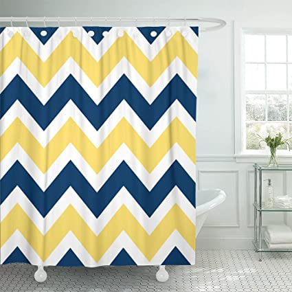 Accrocn Waterproof Shower Curtain Curtains Fabric Navy Blue And Yellow Chevron Zigzag Pattern 48x72 Inches Decorative