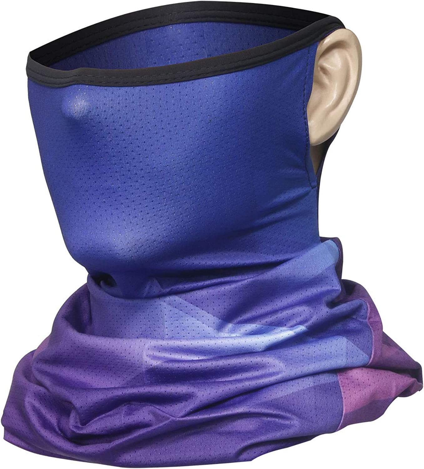 Chielor 3D Neck Gaiter Face Scarf Mask with Ear Loops-Cooling Bandana Balaclava for Fishing Hiking Running Cycling