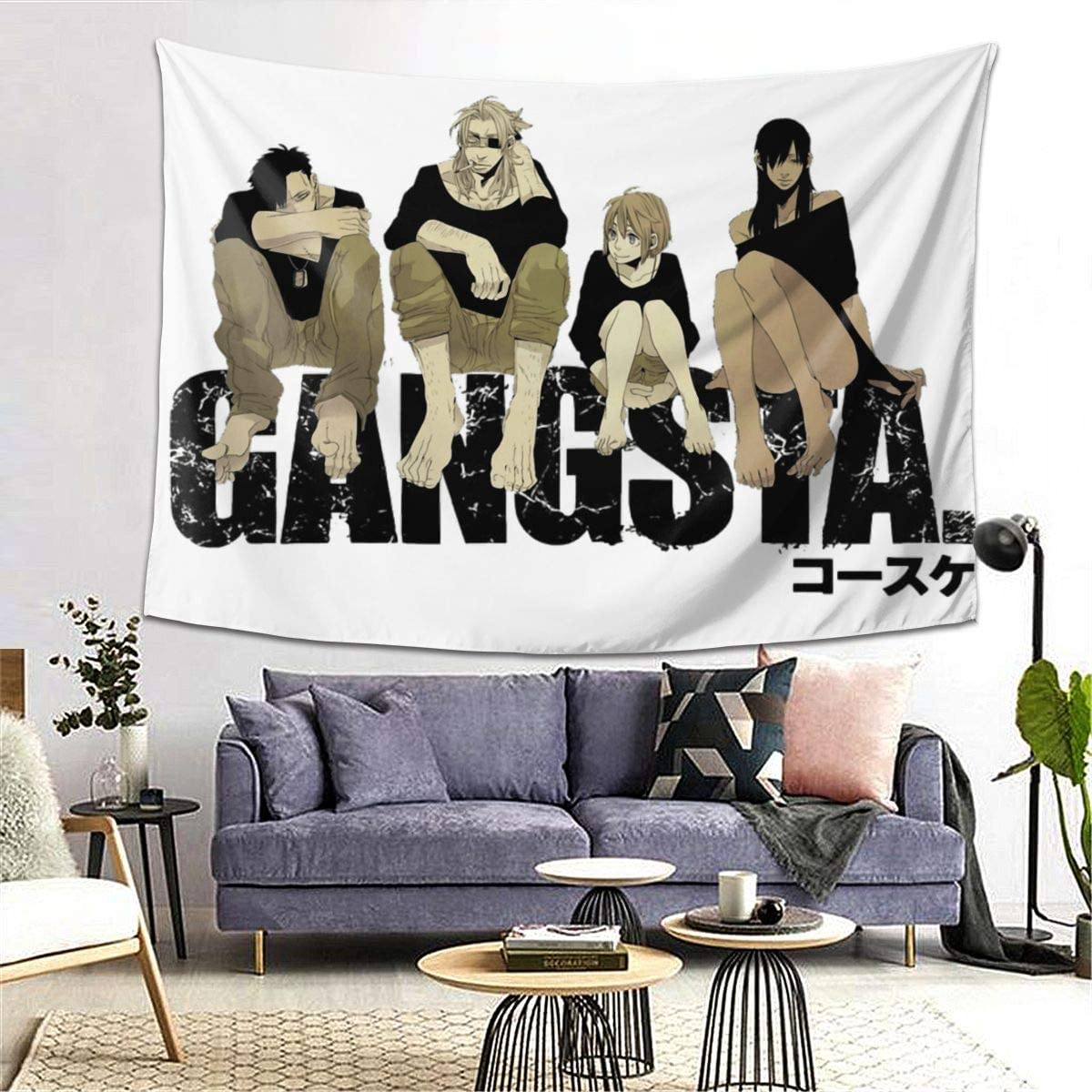 Anime & Gangsta Anime Manga Classic Wall Tapestry Apestry Album 3D Wall Hanging Art Home Decor Wave Tapestries