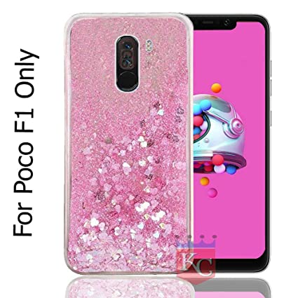 buy popular c3c5e b8b2e KC Liquid Unique Floating Hearts and Glitter Sparkle Transparent Case, Soft  Sides for Xiaomi Poco F1 Back Cover - Pink Colour