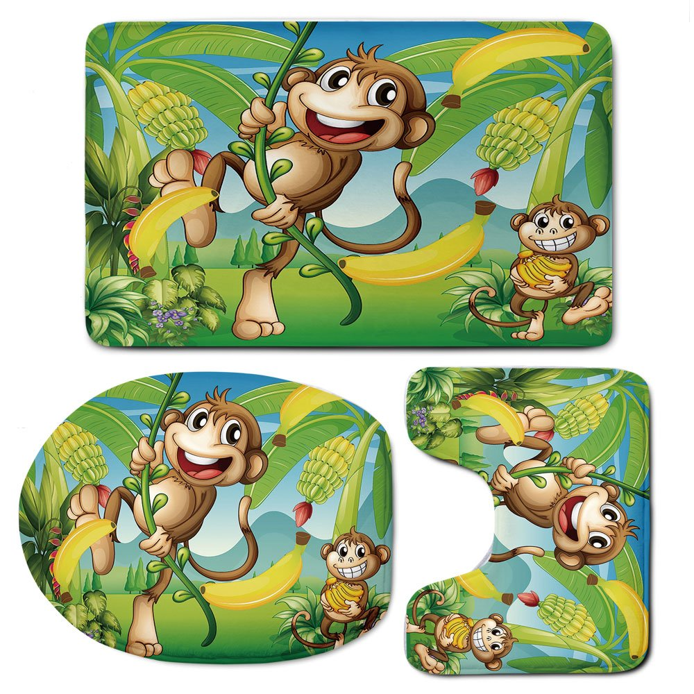 3 Piece Bath Mat Rug Set,Nursery,Bathroom Non-Slip Floor Mat,Two-Monkeys-Near-the-Banana-Plant-Tropical-Nature-Landscape-Vine-Funny-Animals-Apes-Decorative,Pedestal Rug + Lid Toilet Cover + Bath Mat,M