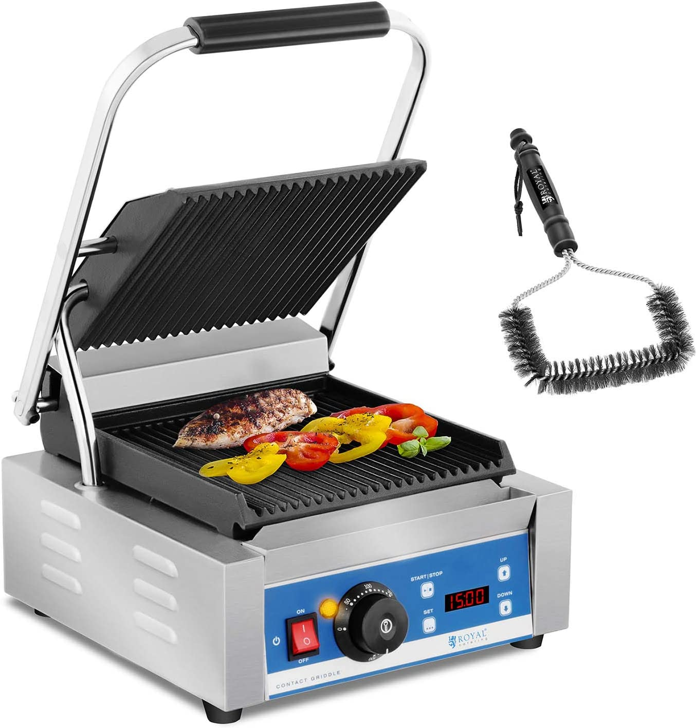 Royal Catering Electric Contact Grill Brush Set Panini Grill Press Ribbed 1800W 15 Min Timer RCKG-2200-GY-SET Enamelled Cast Iron Grill Plate, Stainless Steel Housing, 55-300 /°C