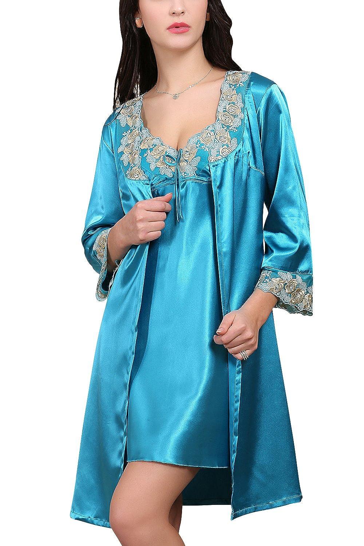 9410e6639192 Dolamen Camicia da Notte Donna con Kimono Vestaglia Pigiama
