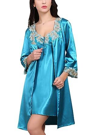600c79239f Dolamen Camicia da Notte Donna con Kimono Vestaglia Pigiama , 2-in-1 seta  Pigiama Pigiami in Raso, Lusso & Sexy Fiore ricamo Chemise Camicia da  notte, ...