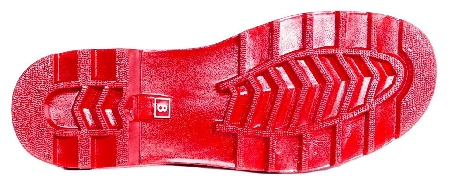 Forever Young Womens Red Rubber Mid-Calf Striped Cuff Rain Boots 8