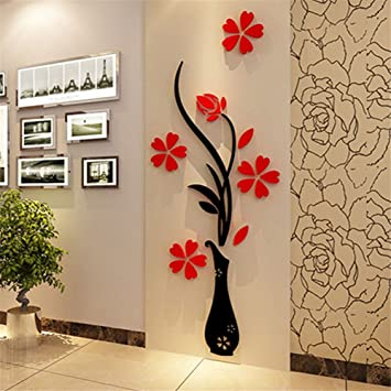 Generic Beautiful Designed 3D Red Plum Flower Vase Acrylic DIY Art Sticker  Wall Stickers Vinyl Decal Part 79