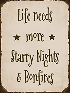 A Homim Light Signs Life Needs More Starry Nights &Amp; Bonfires Camping Firepit Backyard Cabin Aluminum Quality Metal Signs 8 X 12 Inch Large Art for Sale