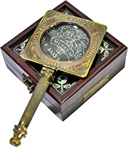 Sailor's Art Antique Brass Magnifying Glass Handheld with Wooden Box-Mirror for Reading- Consulting Detective Home Decor Office Table Decorative Design Science Students Detective kit Glass
