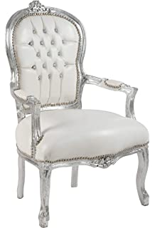Sillón barroco plateado y de piel sintética blanca, de 68 x ...