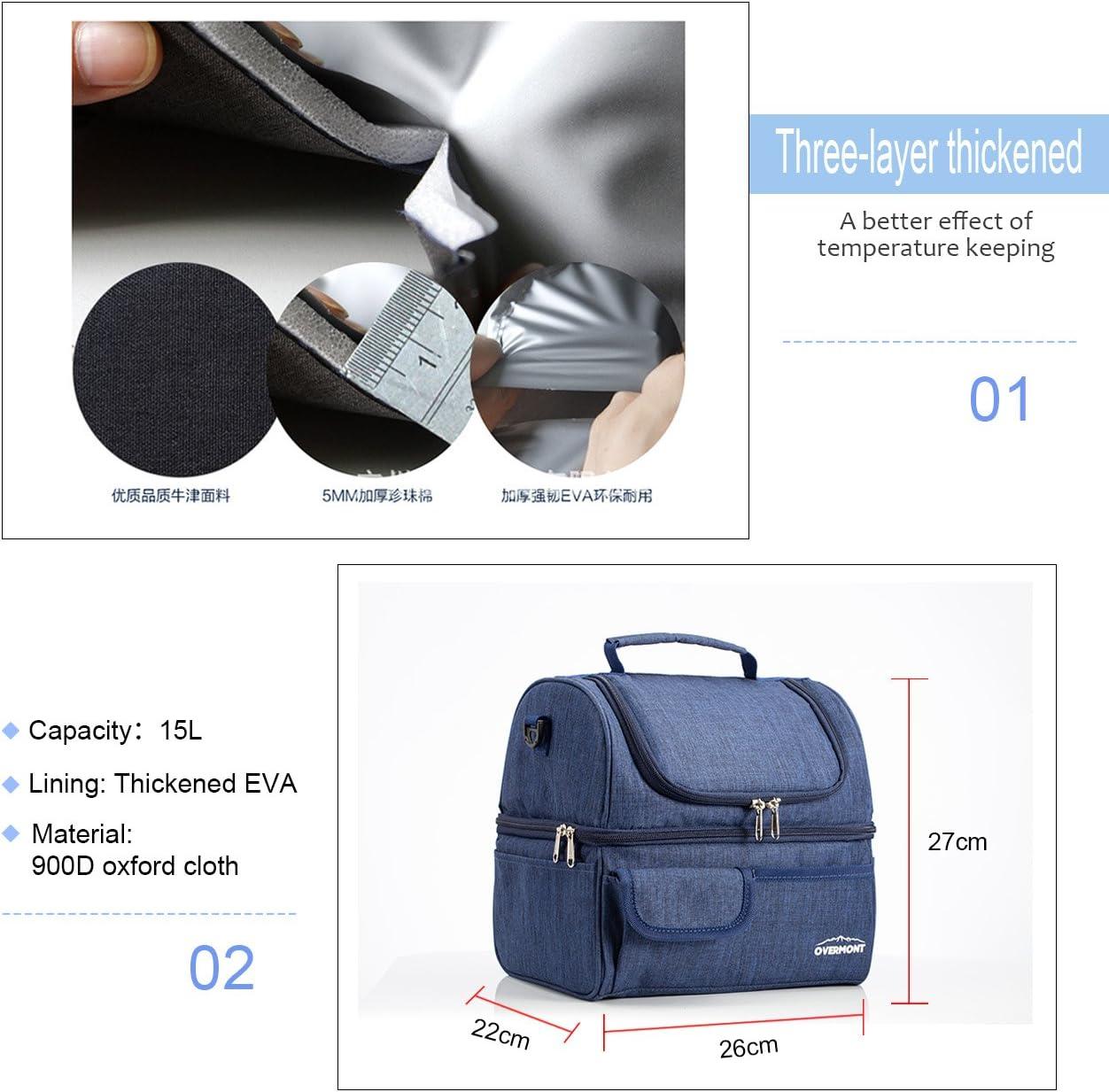 Color : Azul marino Bolsa T/érmica Porta Alimentos con Correa Ajustable de Hombro Bolsa de Comida