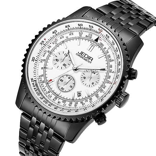 383d878b2 JEDIR Men Fashion Sport Quartz Watch Chronograph Analog Dial with Date  Window Metal Case Stainless Steel