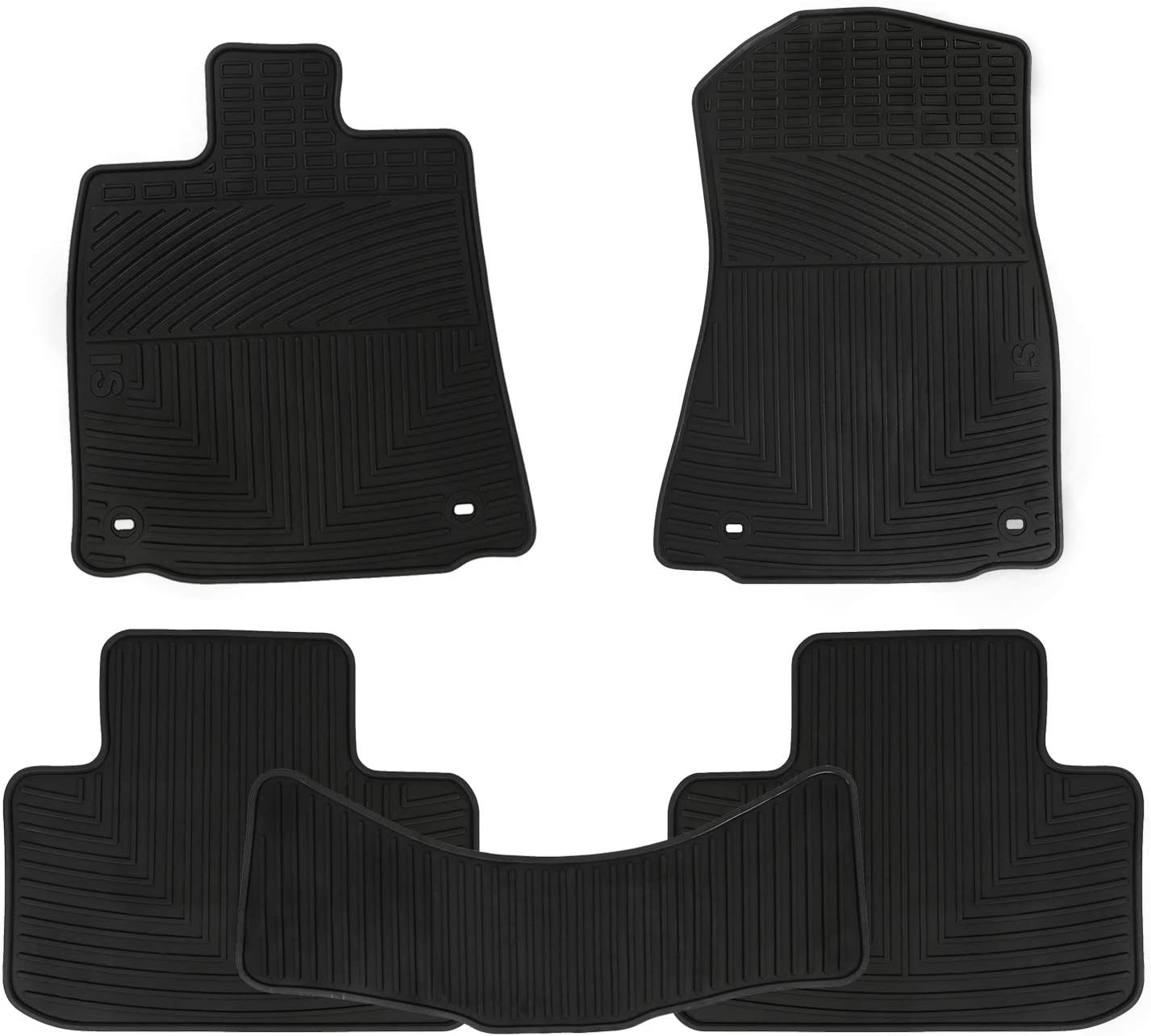 RWD//2WD 2013 2014 2015 2016 2017 2018 2019 Custom Fit Full Black Rubber Car Floor Liners Set All Weather Heavy Duty Odorless San Auto Car Floor Mats Compatible with Lexus IS250 IS350 IS200T IS300