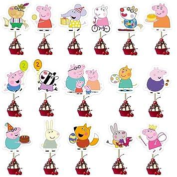 KRUCE 32 PC Peppa Pig Cake Toppers para niños Suministros de Fiesta de cumpleaños Decoración de Pasteles