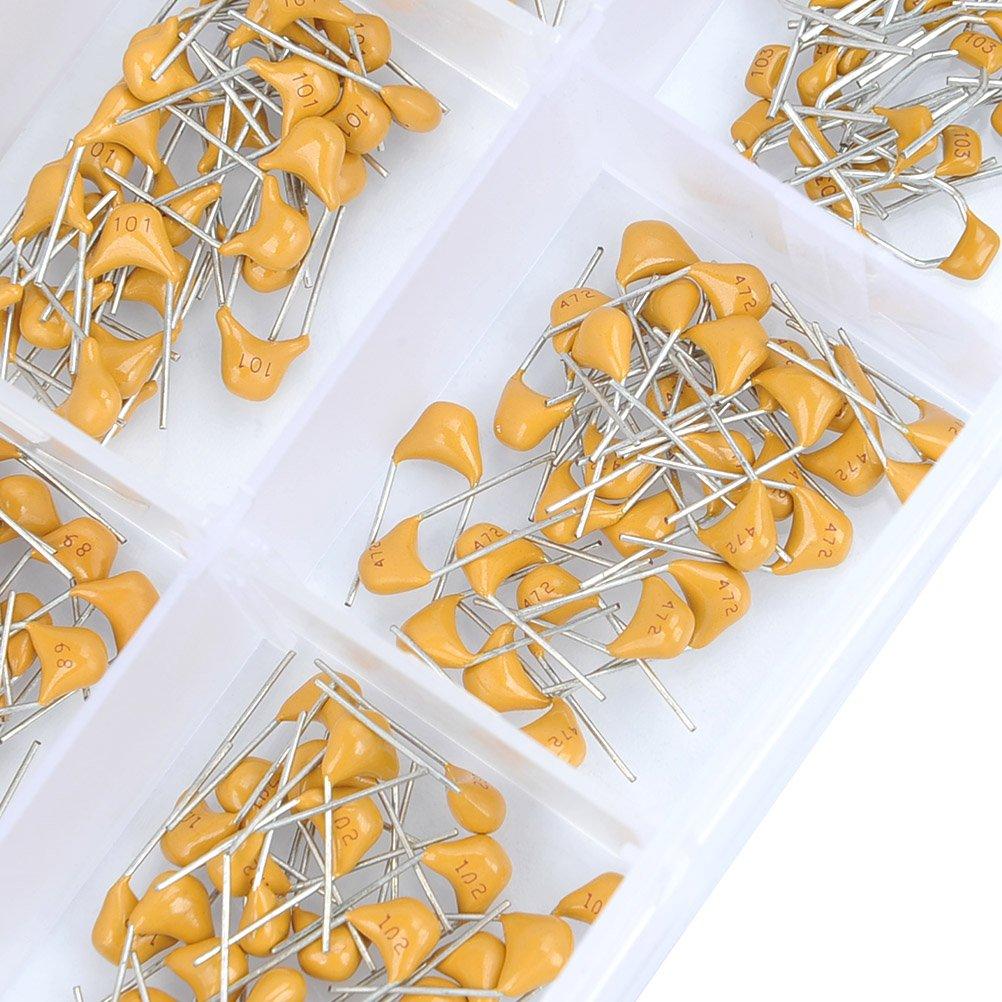 QLOUNI 15 Value 450pcs Ceramic Capacitor DIP Monolithic Multilayer Ceramic Chip Capacitors Components Assortment Box Kit 10pF-100nF