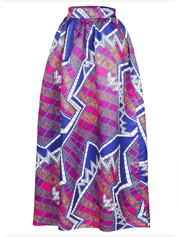 Afibi Mujer Africano Impreso Casual Maxi Falda Quemado Falda Multisize Una Línea Falda (S-3XL)