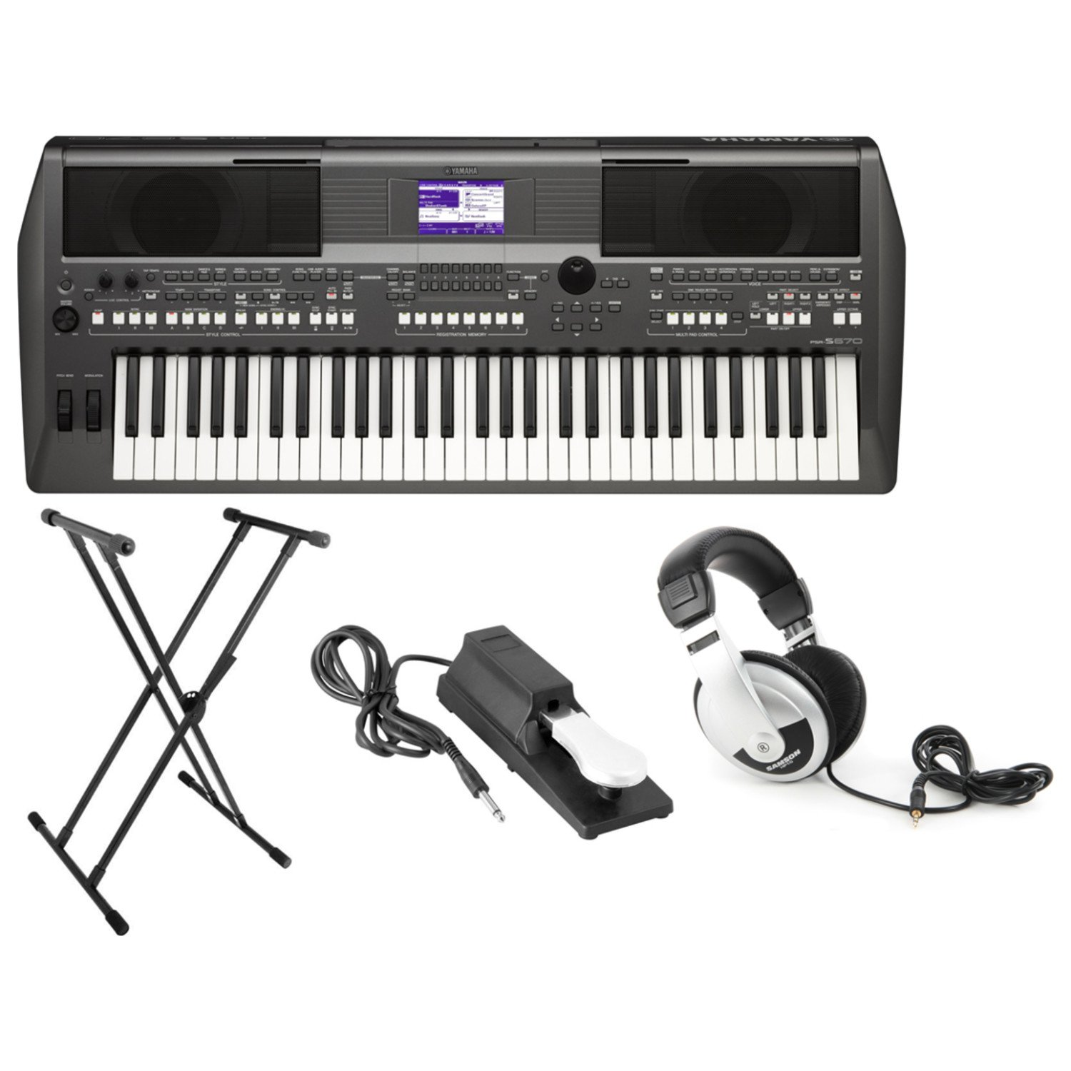 Yamaha PSR-S670 61-Key Arranger Workstation Keyboard with Onboard Stereo Speakers and MegaVoice Articulation Technology with Keyboard Stand, Sustain Pedal and Headphones