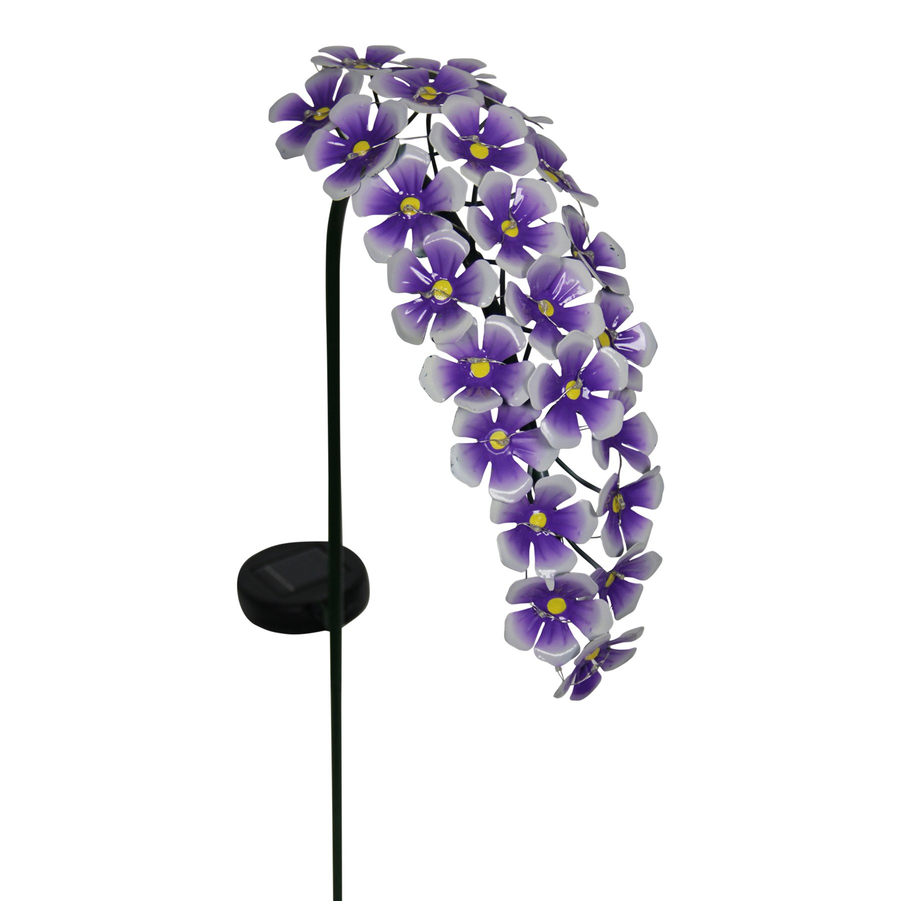 Exhart Hanging Hydrangea Garden Stake, 24 LED Lights, Solar Powered, Metal, Purple, 11''L x 5''W x 28''H