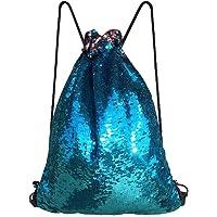 Alritz Mermaid Sequin Drawstring Bags, Reversible Sequin Backpacks Glittering Shoulder Bags Girls Boys Women