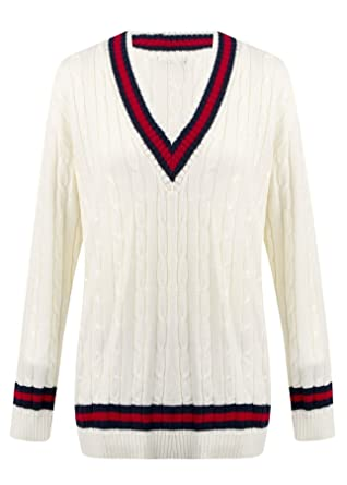 25a8b4f4910f67 Womens Ladies Cable Knit V Neck Long Stretch Cricket Jumper Pullover Top -  Cream and RED