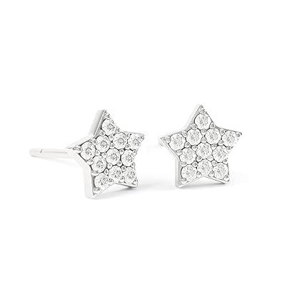 Diamond Star 18ct White Gold Stud Earrings Jian London Amazon Co
