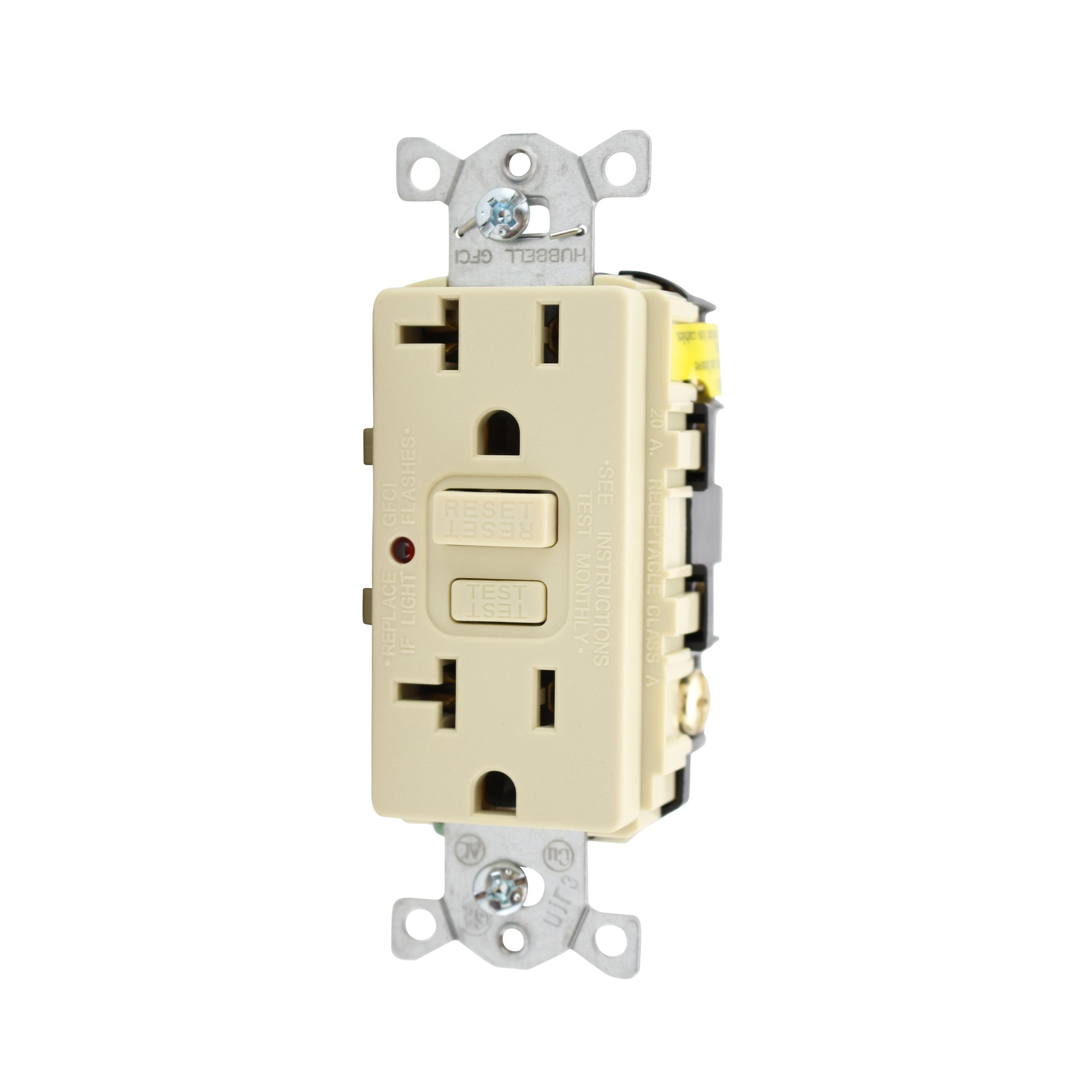 Hubbell Wiring Systems GF20ILA Power Protection Products, Receptacles, GFCI, Commercial/Industrial Grade, 20 Amp, 125V, 2-Pole 3-Wire Grounding, 5-20R, LED Indicator, Ivory