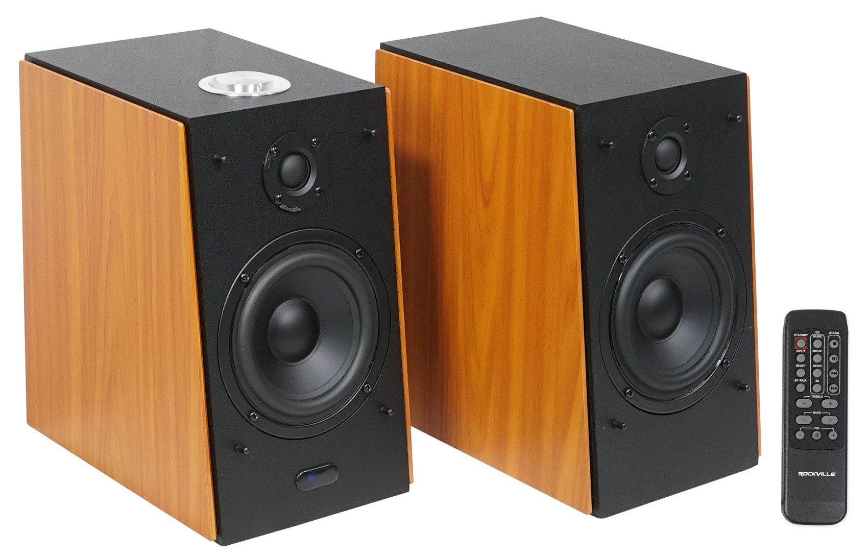 Pair Rockville HD5 5'' 150w RMS Powered Bluetooth Bookshelf Home Theater Speakers