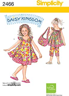product image for Simplicity Daisy Kingdom Pattern 2466 Girls Dress, Top, Capri Pants, Tote, Headband and Ponytail Holder Sizes 3-4-5-6-7-8