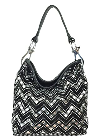 Amazon.com  Zzfab Sparkle Gem Chevron Rhinestone Hobo Bag with Shoulder  Strap Black  Clothing 0f50196b6e271