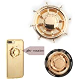 Metal Ring Phone Grip Stand Holder, Universal Smartphone for ipad iPhone 7/7S//6/6s Plus Fidget Spinner Toy High Speed Brass Rudder Ship Wheel phone spinner case (gold)