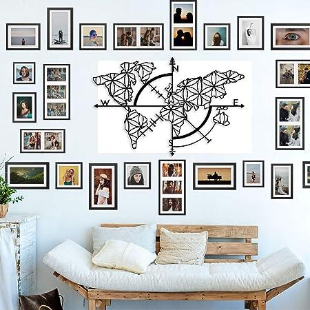 Bekata Colección de arte de pared de metal para sala de estar, mapa del mundo y