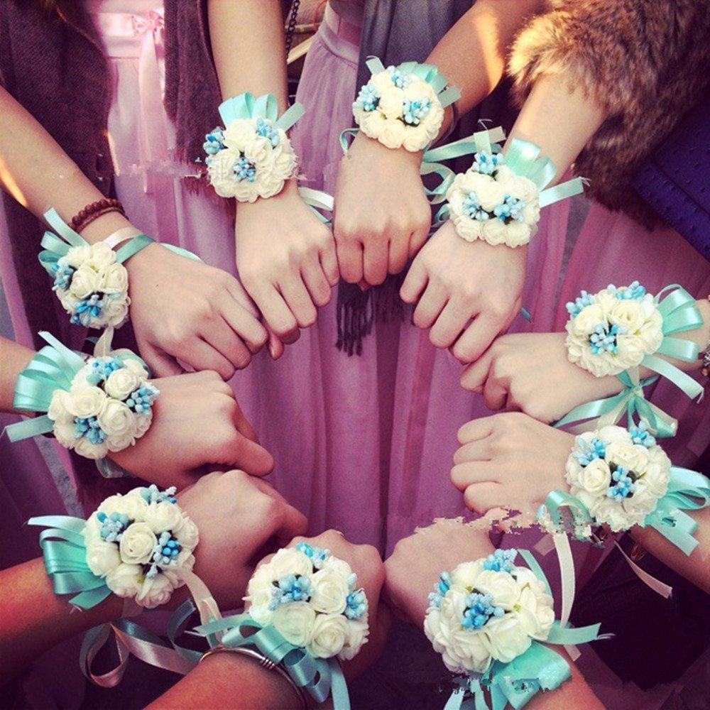 1 pc Westeng Wrist Flowers Corsage Wedding Party Prom Dress Bride Bridesmaid Bracelet Bouquet Pearl Beads Decorative Ribbon Blue