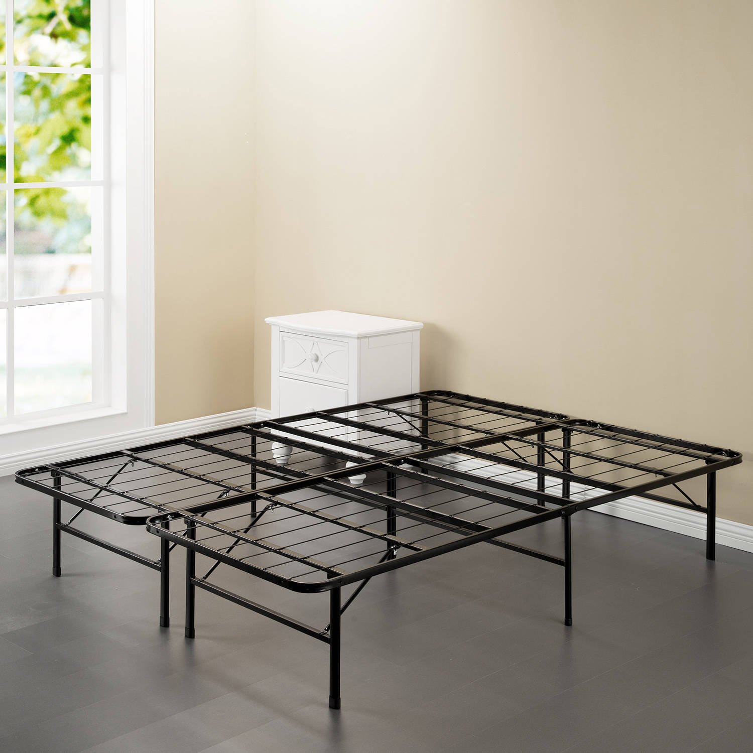 Smart Base 14 Inch Foundation Bed Frame Black, Sturdy and Durable Industrial Grade Steel Construction, No Box Spring Needed, Put Together in Minutes, Large Under Bed Storage, Multiple Size Options