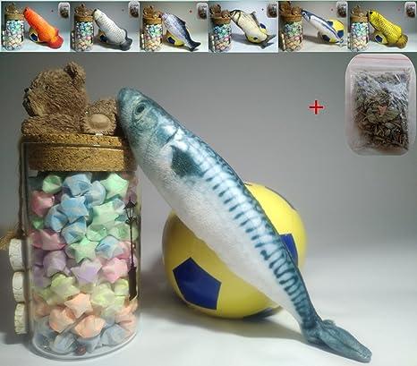 Maibar juguetes gatos con hierba gatera juguete gatos pescado 3D juguetes (Mackerel, 20cm)