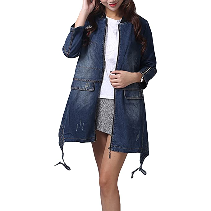 buy popular 45cb8 989e7 manbozix Trench da Donna in Denim Cappotto di Jeans Giacca ...