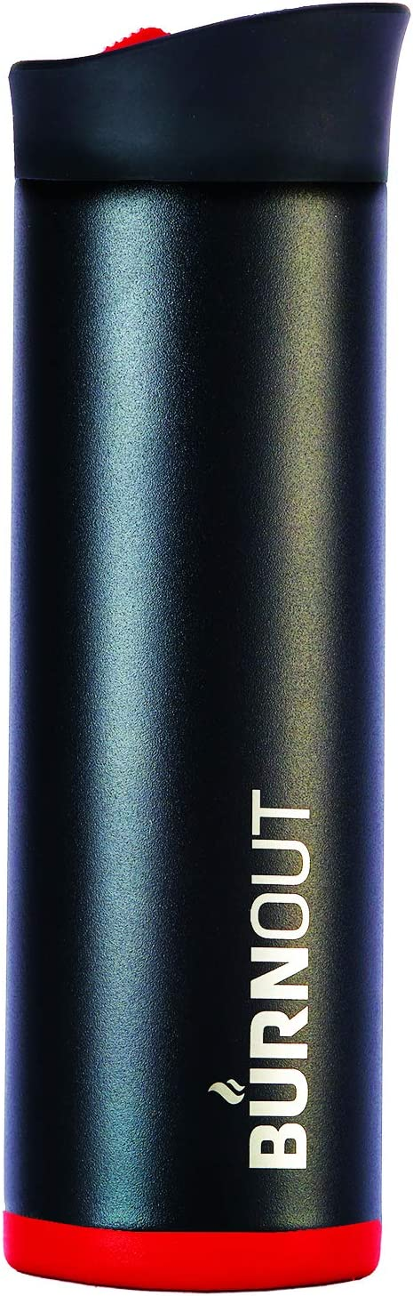 BURNOUT Temperature Regulating Travel Mug 16 oz Black - Drink NOW & HeatZorb Tech by LEXO