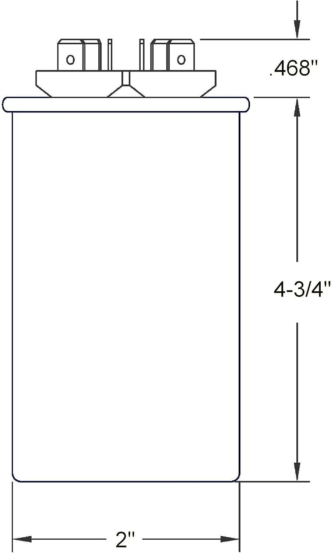 OneTrip Parts USA Run Capacitor 40+5 UF 40//5 MFD 370 VAC 440 VAC 2 Inch Round Heavy Duty